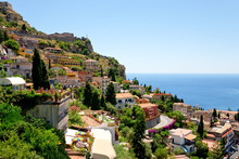 View On Town Taormina From Cas...