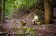 Senior hiker in woods in Virginia