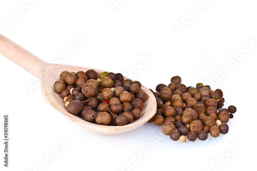 Foto op Canvas Kruiden 2 spice pepper in wooden spoon isolated on white
