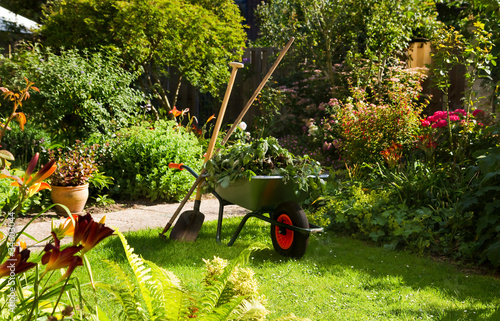In de dag Tuin Working with wheelbarrow in the garden