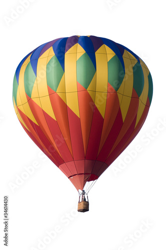 In de dag Ballon Colorful hot-air balloon against white