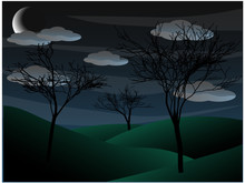 Creepy Grim Bare Tree Night Scene Half Moon