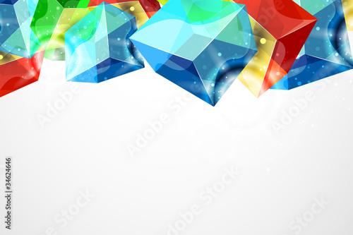 Foto op Canvas Bloemen vrouw Vector abstract glass cube background