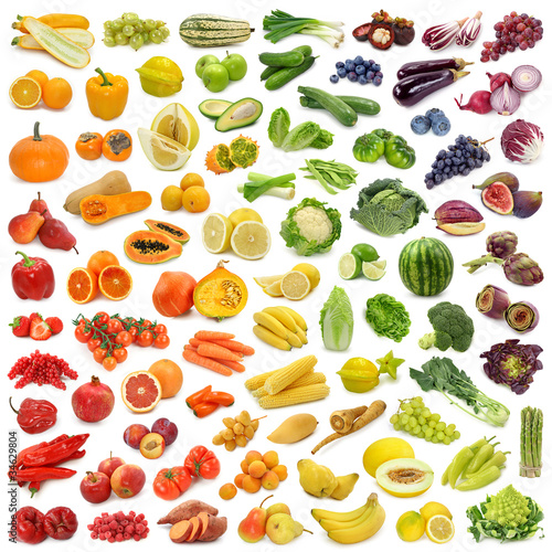 Poster  Rainbow collection of fruits and vegetables