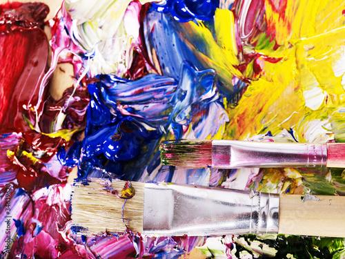 Deurstickers Paradijsvogel Close up of paint mixed on palette.