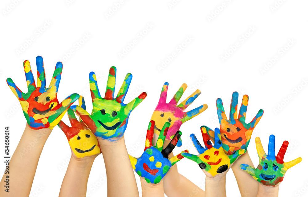 Leinwandbild Motiv - Tanja : viele bemalte bunte Kinderhände