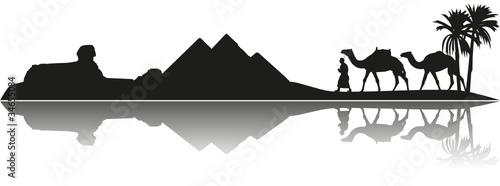 Wüstenlandschaft Silhouette Palmen Kamel Pyramiden