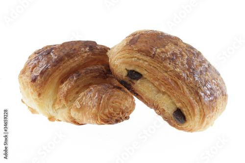 Tuinposter Koekjes Croissant et pain au chocolat