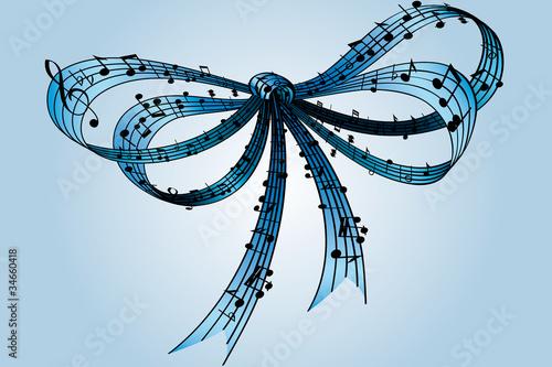 Fotografie, Obraz  fiocco musica azzurro