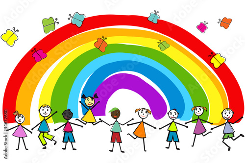 Foto op Canvas Regenboog Children playing on rainbow background