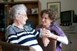canvas print picture - Ältere Dame mit Enkelin