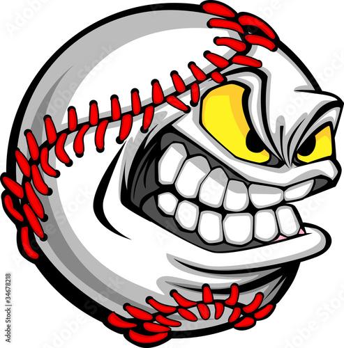 Fotografía  Baseball Face Cartoon Ball Image