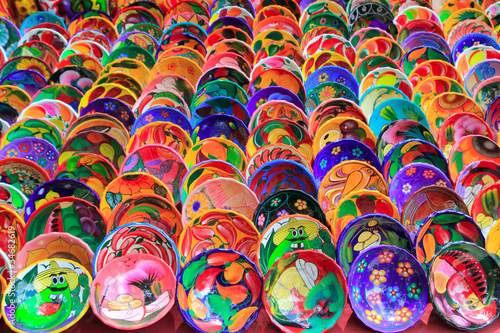 Foto op Canvas Mexico clay ceramic plates from Mexico colorful
