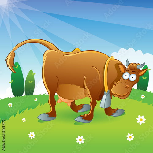 Tuinposter Vlinders Cow Illustration Cartoon