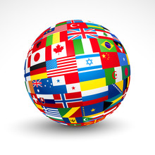 World Flags Sphere. Vector Ill...