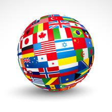 World Flags Sphere. Vector Illustration.