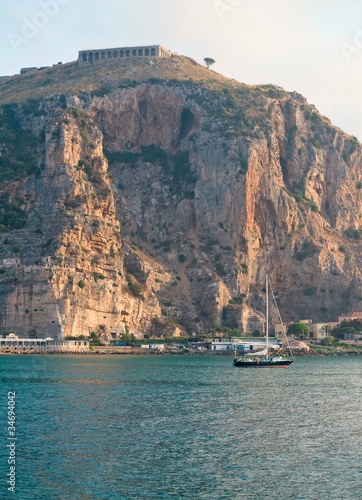 Valokuva View of Terracina port (Italy) and the Temple of Jupiter
