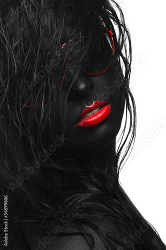 Poster Rouge, noir, blanc black portrait hair