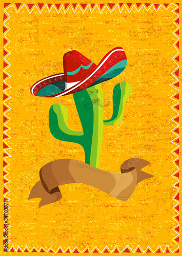 Fotografía  Mexican food cactus over grunge background