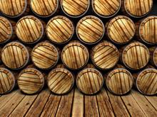 Wall Of Wooden Barrels