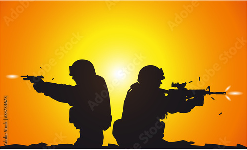 Poster Militaire Silhouette of shooting soldiers