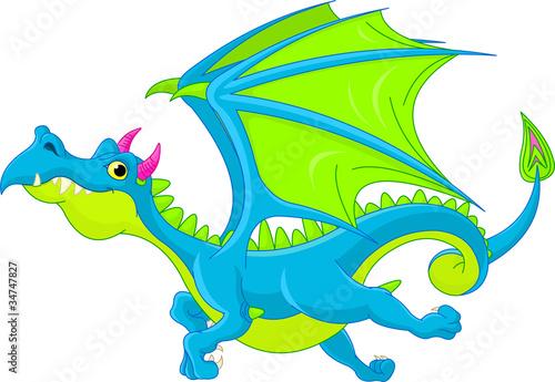 Fotografie, Tablou  Cartoon flying dragon