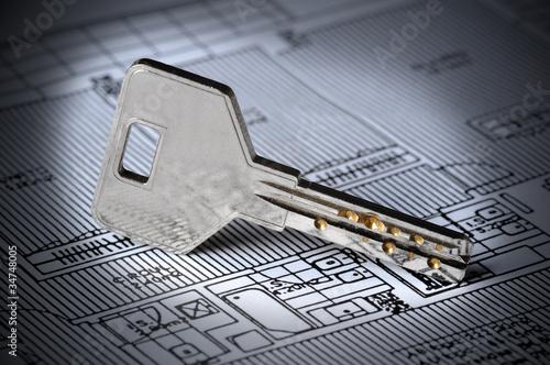 Photo  Key on Blueprint