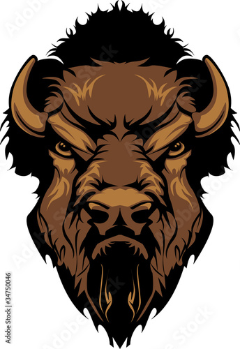 Fotomural Buffalo Bison Mascot Head Graphic