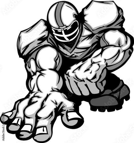 Fotografie, Obraz  Football Player Lineman Cartoon