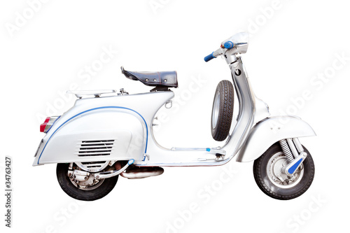 Foto auf Leinwand Scooter vintage vespa, Classic Italian scooter on a white background