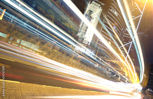 Photo  traffic in finance urban at night