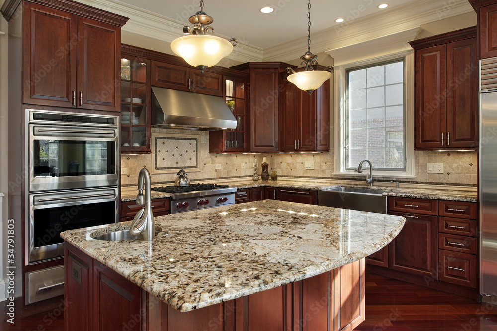 Fototapeta Kitchen with granite island