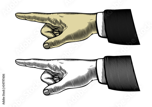 Fotografia  Hand with pointing finger (Vector illustration)