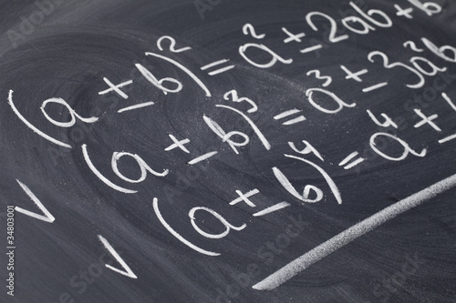 Photo mathematical equations on blackboard