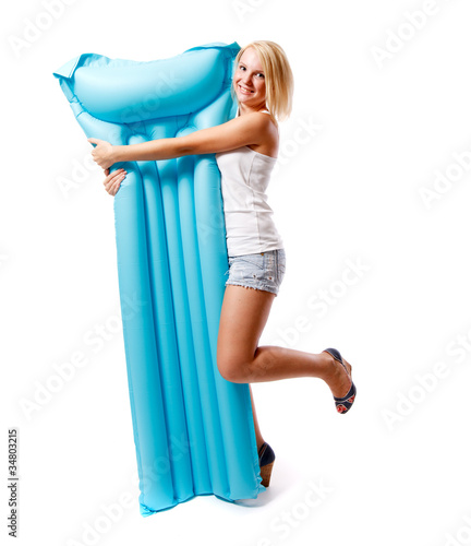 Photo Woman and airbed