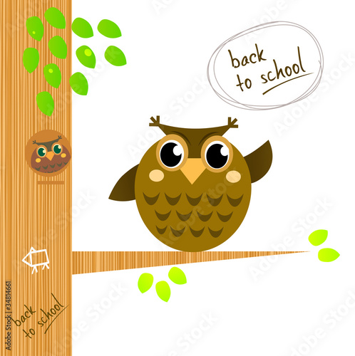 Wall Murals Birds, bees Brown wise owl on tree isolated on white.
