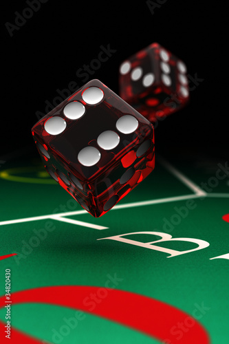 Two dice over craps table with selective focus Wallpaper Mural
