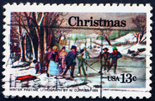 Postage Stamp USA 1976 Painting Winter Pastime, By Nathaniel Cur