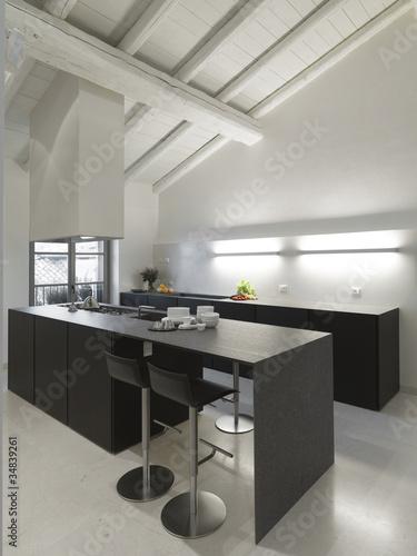 moderna cucina in mansarda - Buy this stock photo and explore ...