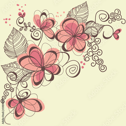 Deurstickers Abstract bloemen Vector flowers
