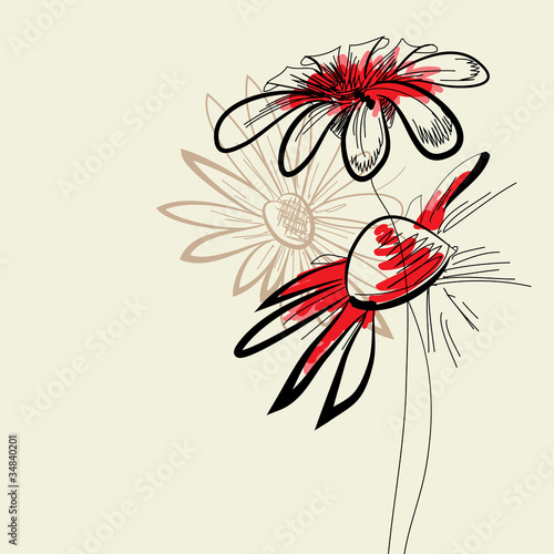 Deurstickers Abstract bloemen Artistic abstract flowers