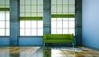 canvas print picture Wohndesign - grünes Sofa im Loft