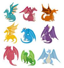 Cartoon Fire Dragon Icon Set.