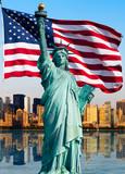 Fototapeta New York - New York skyline, statue de la liberté