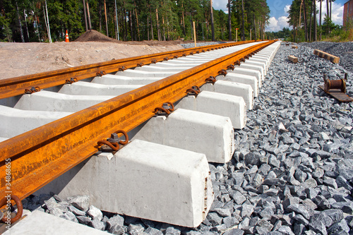 Concrete railroad ties in railway construction site