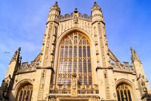 The Gothic Facade Of Bath Abbey, England