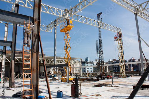 Busy construction site in a sunny day Fototapet