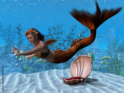 Deurstickers Zeemeermin Underwater Mermaid