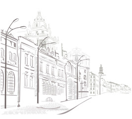 Fototapeta Series of sketches of old cities streets