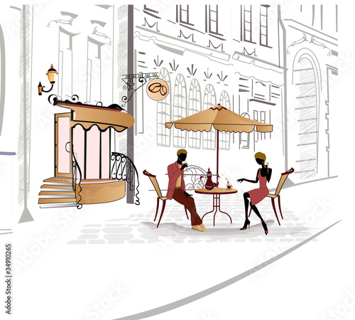 Foto auf AluDibond Gezeichnet Straßenkaffee Series of street cafe in sketches with people